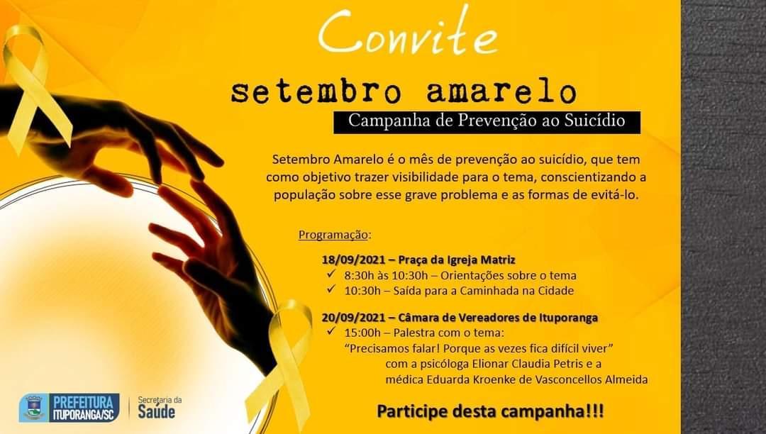 Caminhada alusiva ao movimento Setembro Amarelo será realizada em Ituporanga neste sábado (18)